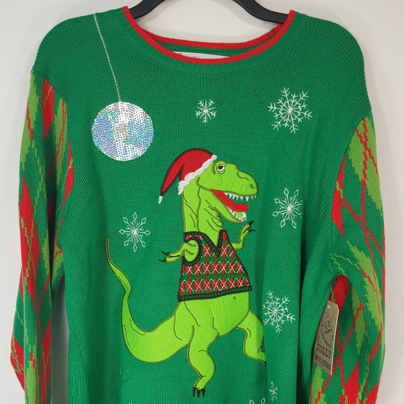 T Rex Ugly Christmas Sweater.Ugly Christmas Sweater Dancing T Rex Dinosaur Nwt